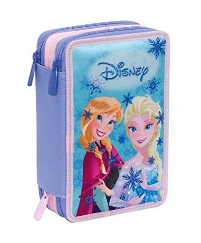 Astuccio 3 zip disney , frozen magic lights , blu , con contenuto: matite, pennarelli ...