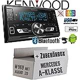Mercedes A-Klasse W169 Audio 20 - Autoradio Radio Kenwood DPX-M3100BT - 2-Din Bluetooth USB VarioColor Einbauzubehör - Einbause