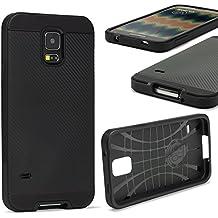 URCOVER® Samsung Galaxy S5 Mini   Funda Protectora Hybrid Case Carbon Estilo   Plastico Rígido en Negro   Carcasa Armor Doble Proteccíon Fina y Ligera Bumper Antichoque