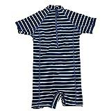 Minymo Baby Unisex Kurzer Surfer Anzug, Größe: 80 cm, Alter: 12 Monate, 50+ UV Schutz, Farbe: Blau gestreift, 170674