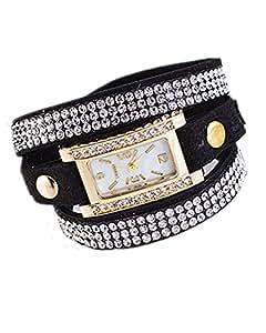SAMGU Nouvelle mode Bracelet en cuir Montre Femmes Vintage strass Weave Wrap femme Couleur Noir