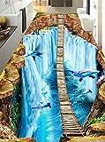 Tapeten Wandbild WandaufkleberBenutzerdefinierte Tapete 3D Selbstklebende Pvc Boden Malerei 3D Großen Wasserfall Delphin 12 Meter Schwebende Leiter Boden, 300 * 210Cm