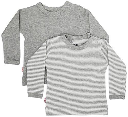 ISI Mini Unisex Baby Teddy Kollektion, 2er Pack Pullover, Mehrfarbig (Grau + Gestreift), One Size (Herstellergröße: 62/68) (2erPack) -