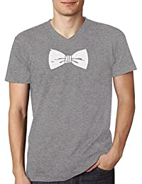 Printed Tuxedo White Bow Tie Funny V-Neck T-Shirt
