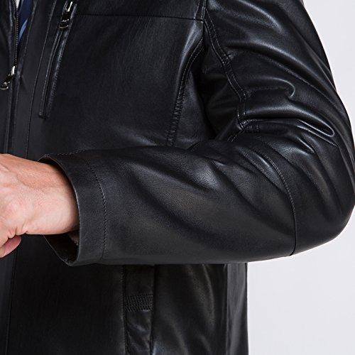 Männer Geschäft Leder verdicken Leder Jacke Warm Lamm Wolle Futter Schwarz
