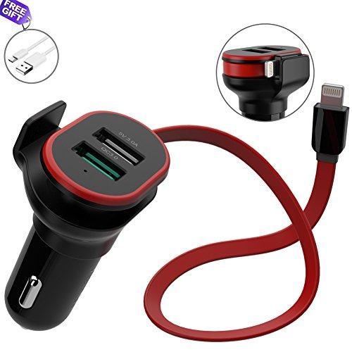 XDODD KFZ Auto Ladegerät Schnellladegerät mit Kabel Lightning und 2-Port Quick Charge QC 3.0 USB Auto Ladegerät Adapter für Samsung Galaxy S8/S7/Edge/iPhone, iPad, Huawei,HTC, LG