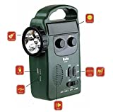 #6: Kaito KA339W Multi-functional 4-way Powered LED Camping Lantern & Flashlight with AM/FM NOAA Weather Radio & Cell Phone Charger, Color Green