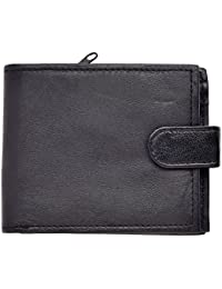 Mens Soft Black Leather Wallet Notecase with Note Section and Zip Compartment at back of Wallet