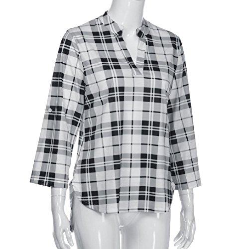 DOLDOA Femmes Loisirs Printemps Impression Col V Chemise à Carreaux Blanc