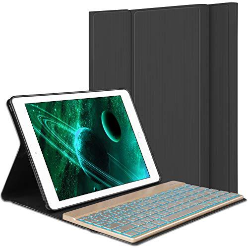Tastatur Fuer Ipad 4 Gen Ipad 3 Gen Ipad 2 Gen, PU Hülle mit 7 Farben hinterleuchtet abnehmbare Wireless Bluetooth Tastatur für iPad 2/3/4 - (Schwarz) ()