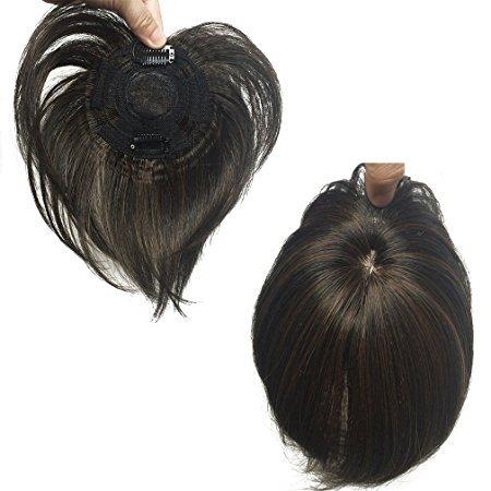 Namecute chiusura superiore Ombre Nero Misto Marrone Top wiglet Straight nautral come veri capelli umani mono top piece