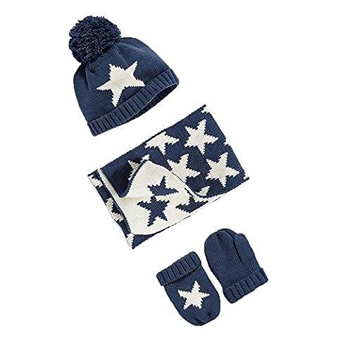 [Baby Mütze Set 3tlg] GGBaby@ Pudelmütze + Schal + Handschuhe Sternenmuster Gehäkelt Kindermütze Strickmütze Bommelnmütze Herbst Winter Wintermützen für Baby Kinder S