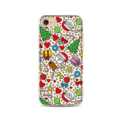 "CoqueiPhone 7 Etui Housse Xmas,BoomTeck Coque Pour 4.7"" Apple iPhone 7 Silicone Souple Transparente Motif Clear Ultra Mince Anti Choc Anti-rayures Gel TPU Etui Protection Bumper Case Merry Christmas  16"