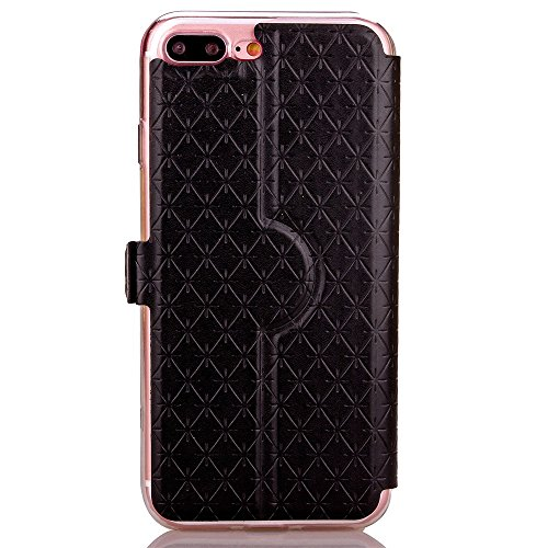 iPhone Case Cover PU-lederner Fenster-Fall-Rasterfeld-Gitter-Muster-Standplatz-Fall-Abdeckung mit Karten-Schlitz für iPhone 7 Plus ( Color : Purple , Size : IPhone 7 Plus ) Black