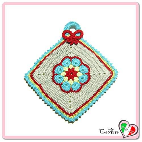 Presina colorata con fiore afgano all\' uncinetto - Dimensioni: 15.5 cm x 17 cm H - Handmade - ITALY