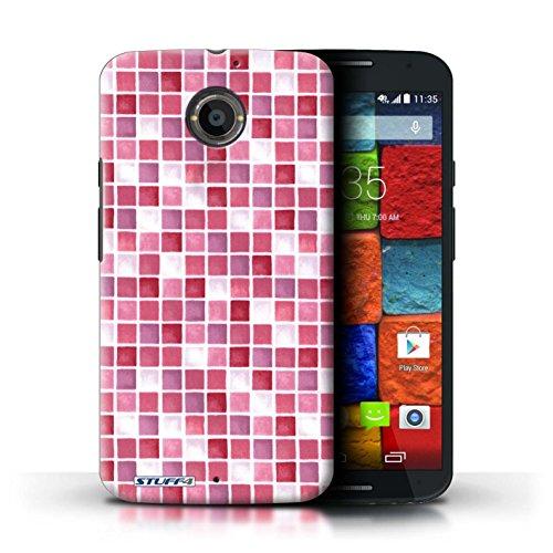 Kobalt® Imprimé Etui / Coque pour Motorola Moto X (2014) / Rouge/Rose conception / Série Carreau Bain Rouge/Rose