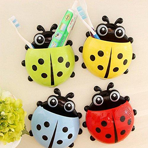 Cuteco 1 PC Ladybug Cartoon Sucker Brosse à dents et dentifrice Supports Crochets Ventouse murale étui de rangement de salle de bain accessoire Décor