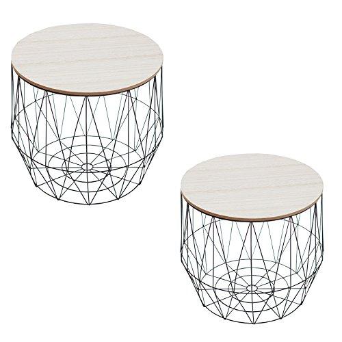 2er set Moderner Couchtische Beistelltische STORAGE schwarz Aufbewahrungsfach mit Eiche Ablage Aufbewahrungskorb mit Holzdeckel Deckel Korb Aufbewahrung Tische -