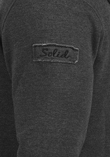 SOLID Trip Tape Zip Herren Sweatjacke Kapuzen-Jacke Zip-Hood aus einer hochwertigen Baumwollmischung Dark Grey Melange (8288)