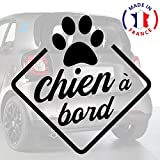 Sticker chien à bord pour voiture Chien à Bord Patte 15 cm Noir - Anakiss