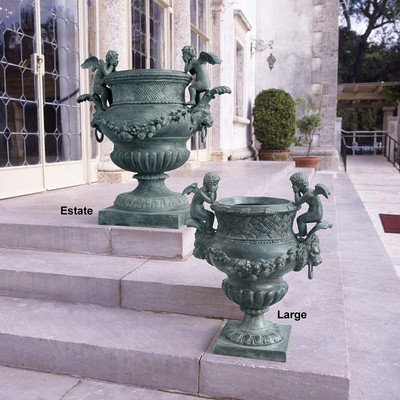 Design Toscano the Duval Double Cherub Lost Wax Bronze Garden Urn - Large