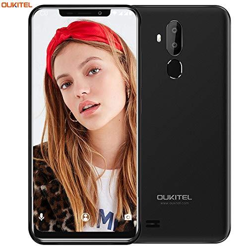 "OUKITEL C12 Smartphone Libre, 6.18"" HD 19:9 IPS Pantalla, Quad-Core 2GB RAM+ 16GB ROM, 3G Android 8.1 Dual SIM Teléfono móvil,Cámara 8MP+5MP,3300mAh,Face ID (Negro)"