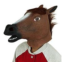 Cusfull Látex de Caucho Novedad Halloween Traje Caballo Cabeza Máscara Navidad Fiesta Decoraciones Adulto Accesorio Del Traje (Marrón)