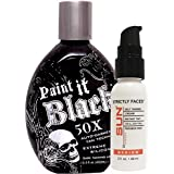 Millennium Tanning Paint It Black 50X,13.5 Oz | Strictly Faces Medium Self Tanner (lvl 2) 2.7 Oz + Tanning Mitt by Sun Laboratories - Body and Face
