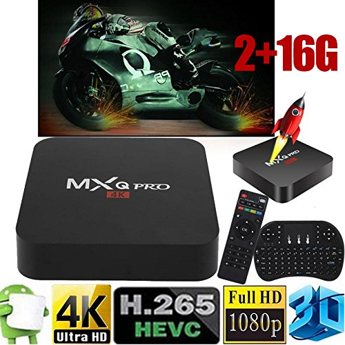 Cewaal (EU Pulg) Android 6.0 TV Box RK3229 Quad core 4K Smart TV Box 2 + 16GB Set top box + Flying Mouse para MXQ PRO