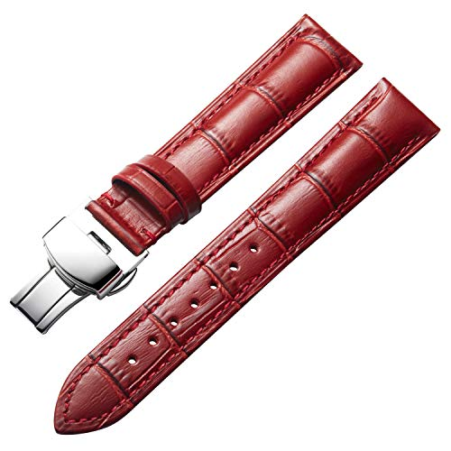 BINLUN Damen Leder Uhrenarmbänder 12mm,14mm,16mm,17mm,18mm,19mm,20mm,21mm,22mm -Weiß,Schwarz,Braun,Rot,Rosa,Rosarot,Orange,Grün,Blau,Violett