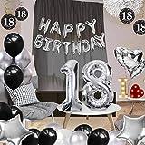 Palloncini compleanno decorazioni 18 anni,Coolba argento e bianco nero Set di Compleanno Festa Decorazioni Kit .Banner di palloncini di buon compleanno per ragazze e ragazzi,forniture di decorazione.
