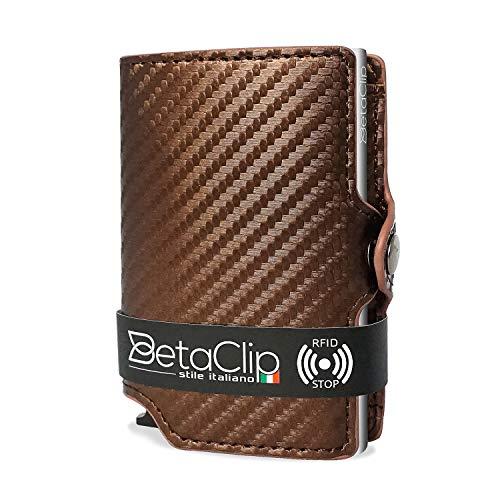 Porta Carte Credito Uomo Eco Pelle Protezione RFID Mini Portafoglio Piccolo Sottile Clip Wallet PortaTessere Schermato Tasca Portamonete Donna Slim Portabanconote Fermasoldi Porta Tessere