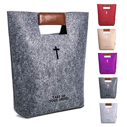 agapass Kreuz Bibel Bezüge Große Bibel Tasche für Frauen Kirche Tasche mit Kunstleder Griffen, christliches Geschenk, hellgrau Dark Grey Tote Bag (Und Tragetaschen Bibel-taschen)