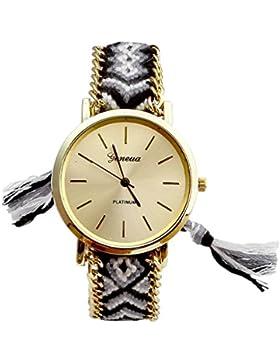 JSDDE Uhren,Genf Platinum Damen Ethnisch Blogger Hipster Vintage Uhr Braid Seil Band Analog Quarzuhr,Schwarz+Weiss
