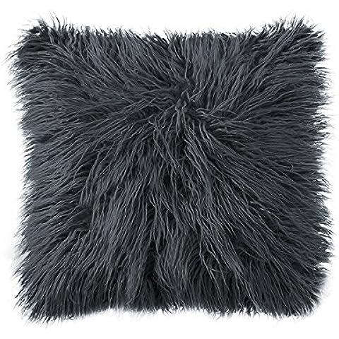 LiveBox Deluxe casa decorativo in finta pelliccia Super morbido peluche della Mongolia federa per cuscino, 100%_poliestere/poliestere, Dark Grey, 18 X 18 Inch
