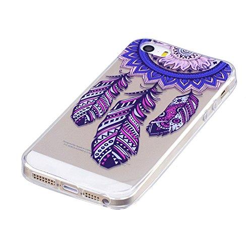 Hülle für Apple iPhone SE 5S / 5 , IJIA Transparent Federn Vogel TPU Weich Silikon Stoßkasten Cover Handyhülle Schutzhülle Handytasche mit 360 Grad Drehung Finger Ring Case Tasche für Apple iPhone SE  MM21