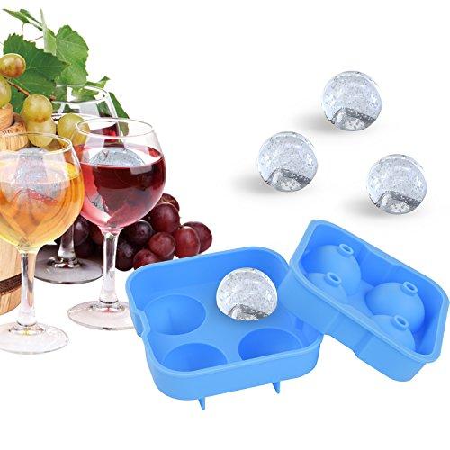 Cheftronic Ice Ball Maker Stampi in silicone per cubetti di ghiaccio 4x 4,5cm. Orange
