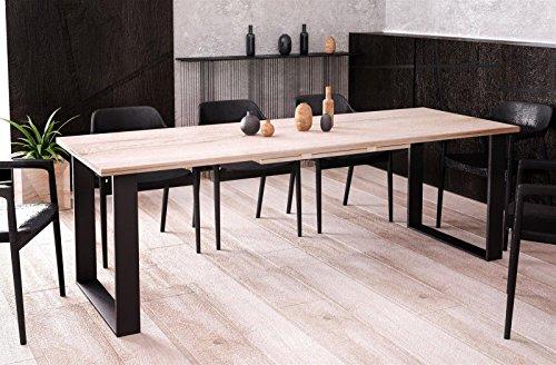 Kufentisch Esstisch Cora San Remo Eiche hell ausziehbar 130cm - 210cm Küchentisch mit Kufen Design