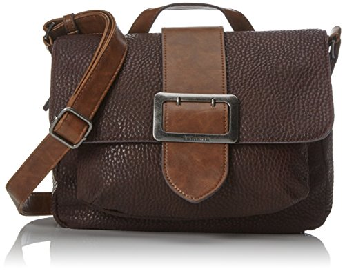 Tamaris Damen Lee Satchel Bag Tornistertasche, Braun (Dark Brown Comb) 10x22x28 cm