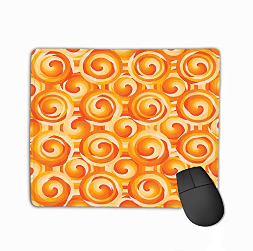 Mouse Pad Circle Swirl Layer orange Symmetry Seamless Pattern Design Drawing Color Rectangle Rubber Mousepad 11.81 X 9.84 Inch