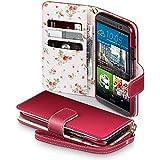 HTC One M9 Tasche, Terrapin Handy Leder Brieftasche Case Hülle mit Kartenfächer für HTC One M9 Hülle Rot mit Blumen Interior