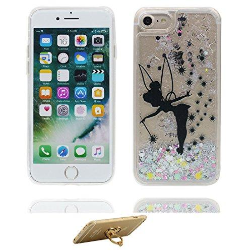 "iPhone 7 Plus Coque, iPhone 7 Plus étui Cover 5.5"", (fée Fariy) - Bling Bling Glitter Fluide Liquide Sparkles Sables, iPhone 7 Plus Case, Shell -anti-chocs & ring Support fée"