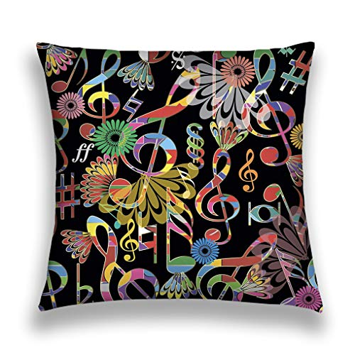 üge Throw Pillow Cover Pillowcase Music Notes Colorful Musical Symbols Signs Background modern Repeat Treble clefs Backdrop floral Sofa Home Decorative Cushion Case 18