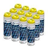 Markierspray leucht gelb clickandtools® 12'er Pack mit Spezialsprühkopf, schnell trocknend