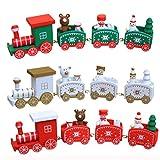 Hirolan Decor Spielzeugeisenbahn Holz Kleiner Zug Weihnachtszug Weihnachten Neujahr Deko Dekoration Ornament für Kinder Mädchen Junge Spielzeug Geschenke Tassenhalter der WeihnachtsZug