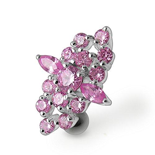 Bijou de Corps anneau de nombril en argent avec pierre fantaisie et tige inversée Pink