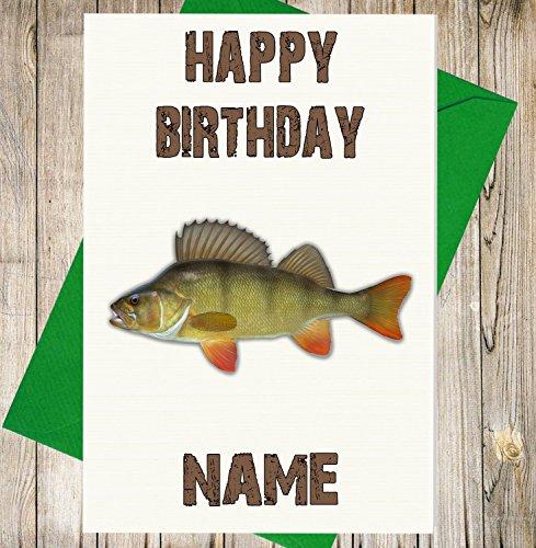 Angeln/Sitzstange Fisch Personalisierte Geburtstagskarte–Jeder Name und Alter