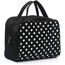 sombras de ojos, Challeng Bolsa cosmética portátil de la caja del artículo de tocador del maquillaje del bolso de la bolsa de viaje multifuncional (negro)