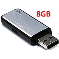 Spy Voice Recorder-8GB USB Digital Audio Voice Recorder- Best Voice Recorder-Portable Recording Device-USB Audio Recorder-No Flashing Light When Recording-Use as Dictaphone-Windows and Mac Compatible