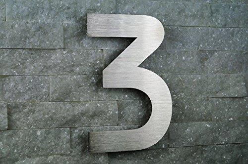 HAUSNUMMER 3 EDELSTAHL V2A Höhe 20cm /200mm Schriftart ITC-Bauhaus in 2D-Design NUR 1 x...